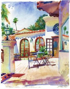 Courtyard Cafe - watercolor landscape painting by Frank Costantino