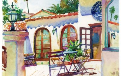 Courtyard Cafe – watercolor landscape painting