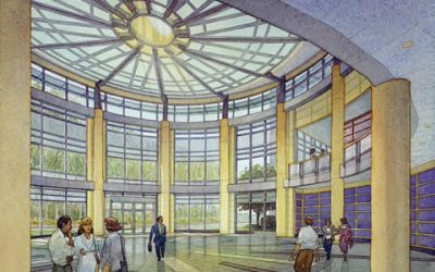 Cox Corp. Headquarters, North Carolina – watercolor architectural illustration rendering