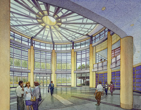 Cox Corp. Headquarters, North Carolina - watercolor architectural illustration rendering by Frank Costantino