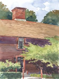Doorway to History - en plein air watercolor landscape building painting by Frank Costantino