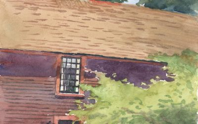 Doorway to History – en plein air watercolor landscape building painting by Frank Costantino