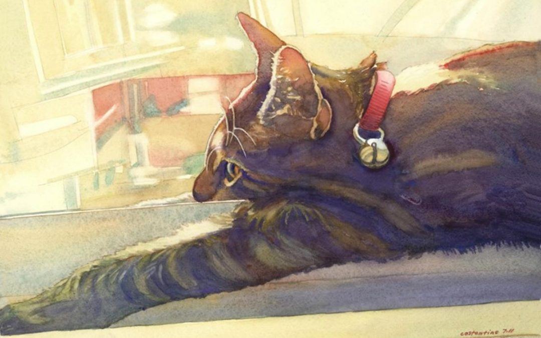 Doris- Lounge Lizard – watercolor painting of a cat