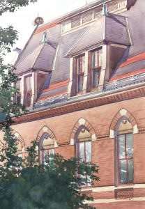 Double Dormers - watercolor architectural landscape painting by Frank Costantino