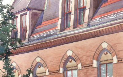 Double Dormers – watercolor architectural landscape painting