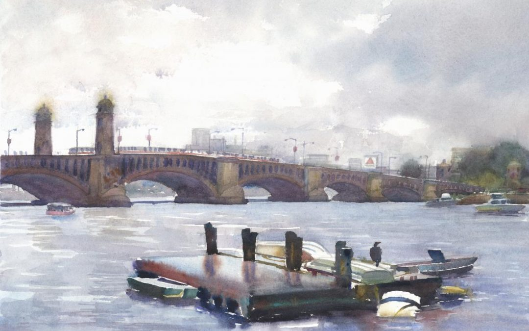 Drifting Raft on a Drizzly Day near Longfellow Bridge – en plein air watercolor painting of river and bridge