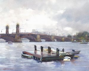 Drifting Raft on a Drizzly Day near Longfellow Bridge - en plein air watercolor painting of river and bridge
