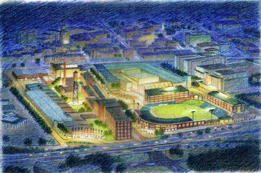 Durham Master Plan, North Carolina -colored pencil architectural illustration rendering by Frank Costantino