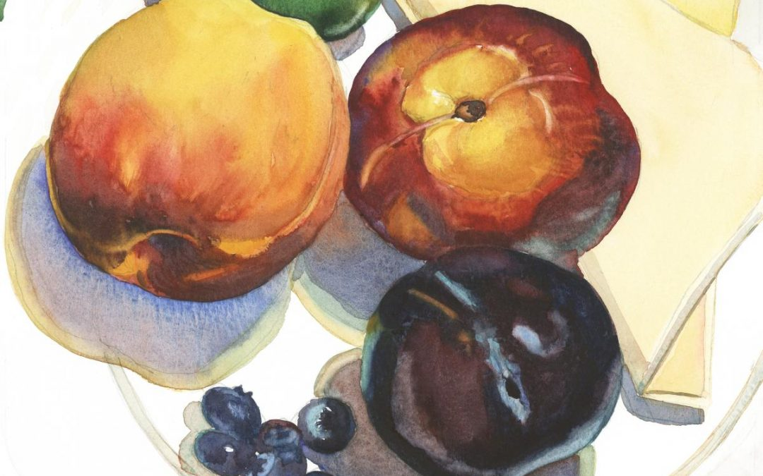 Eden's Edibles – watercolor still life painting by Frank Costantino