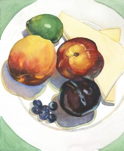 A deliberate, controlled exercise in detail and finesse of fruit surfaces, each of the colors, values, and textures of one fruit was completed in one sequence of brushwork.