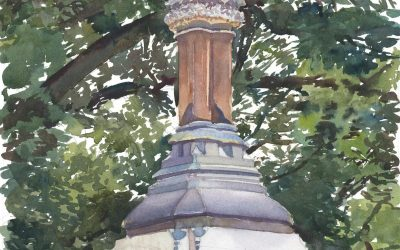 Ether Monument – watercolor painting of park sculpture