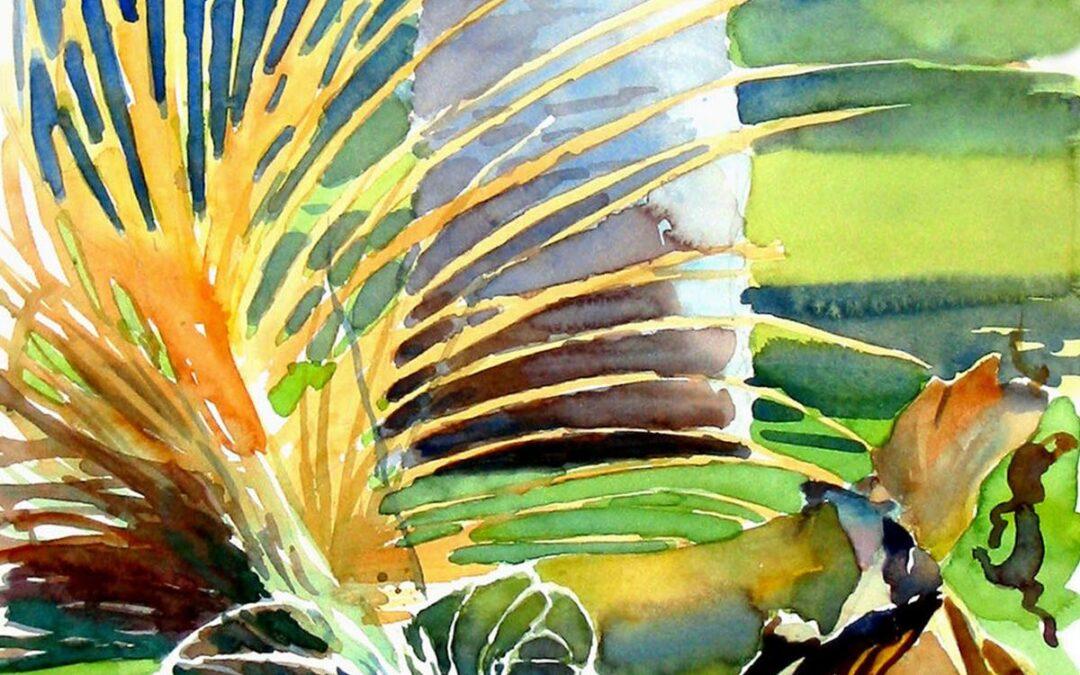Fallen Frond – en plein air watercolor landscape painting