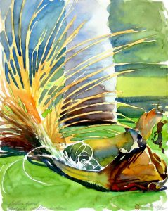Fallen Frond - en plein air watercolor landscape painting by Frank Costantino