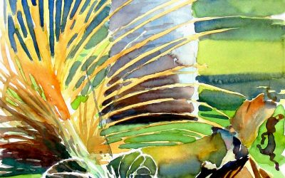 Fallen Frond – en plein air watercolor landscape painting
