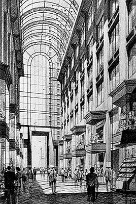 Fan Pier Galleria Proposal, Boston – black and white architectural illustration rendering