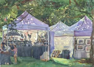 Festival Tent Light - en plein air watercolor landscape painting by Frank Costantino