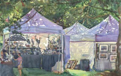 Festival Tent Light – en plein air watercolor landscape painting