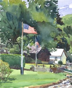 Flags Along Donovan Beach - en plein air watercolor seascape painting by Frank Costantino