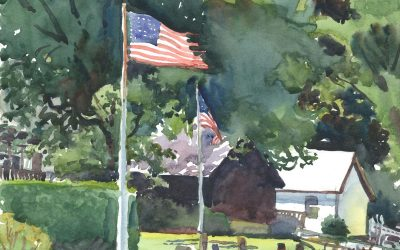 Flags Along Donovan Beach – en plein air watercolor landscape painting