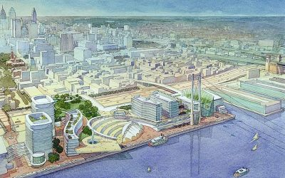 Founders Square at Penn's Landing, Philadelphia, PA – watercolor architectural illustration rendering by Frank Costantino
