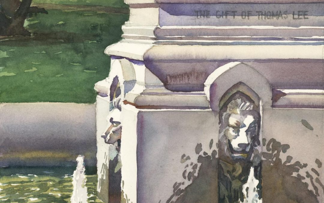 Fountain Lions -watercolor painting of sculpture by Frank Costantino