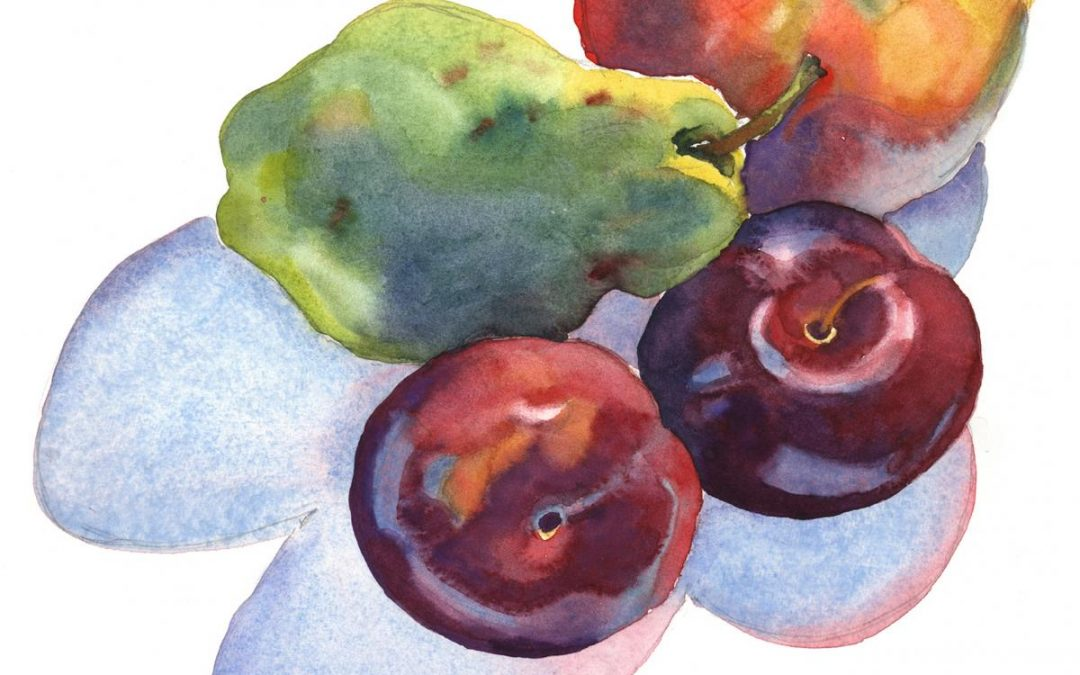 Fruit Casts Shadows Too -watercolor still life painting