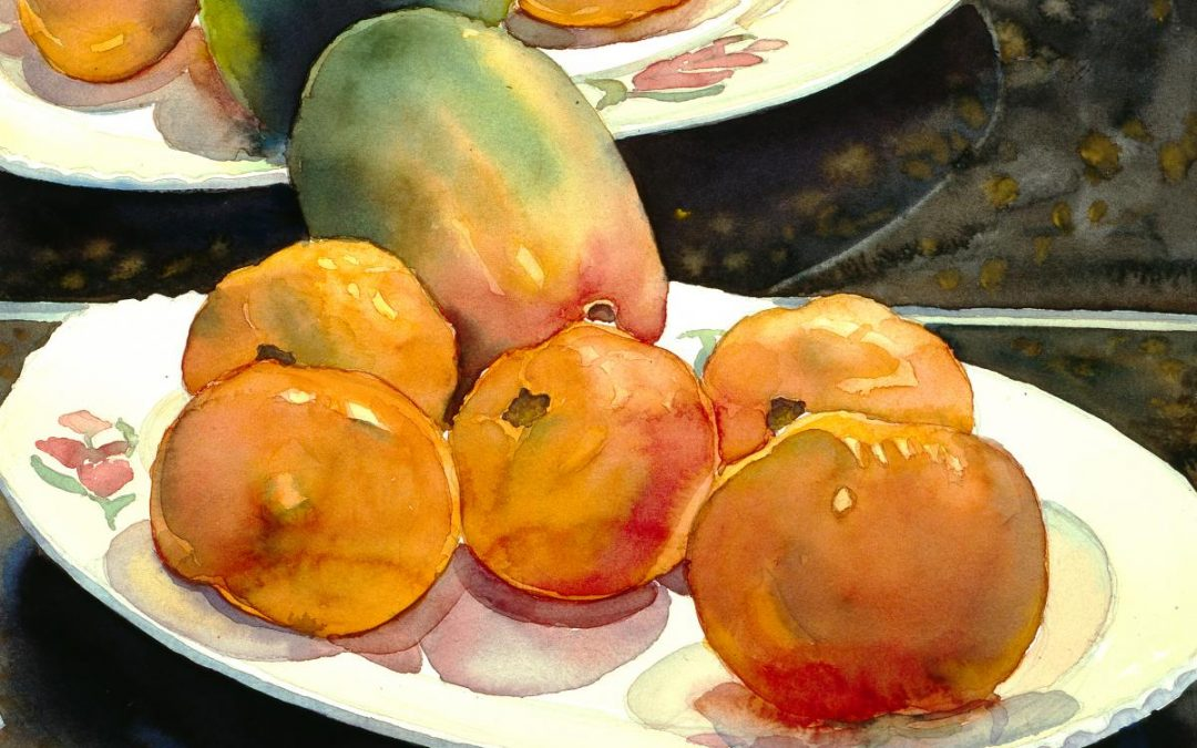 Garden Fruit Reflected – watercolor still life painting