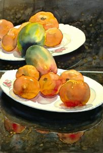 Garden Fruit Reflected - watercolor still life painting by Frank Costantino