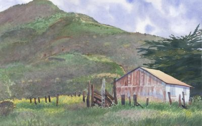 Garrapata's Park Shack – en plein air watercolor landscape painting