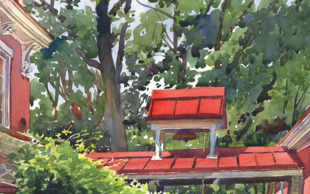 Gilfillan's Farm Bell – en plein air watercolor landscape painting