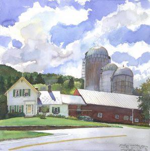 Glady's Walker's Farm - en plein air watercolor landscape building painting by Frank Costantino
