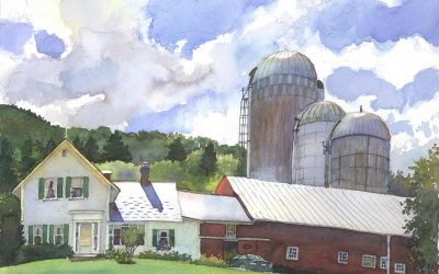 Glady's Walker's Farm – en plein air watercolor landscape building painting