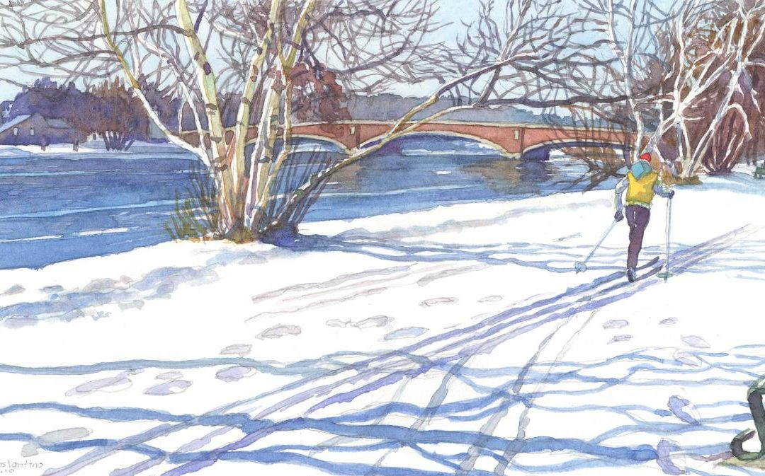 Gliding the Charles – watercolor landscape painting