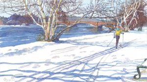Gliding the Charles - watercolor landscape painting by Frank Costantino