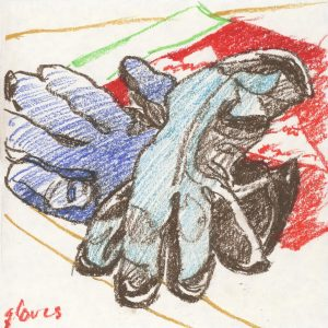 Gloves Worn I - oil pastel still life drawing by Frank Costantino