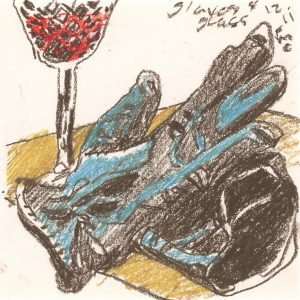 Gloves Worn II -oil pastel still life drawing by Frank Costantino