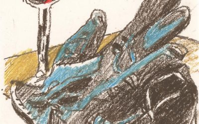 Gloves Worn II -oil pastel still life drawing