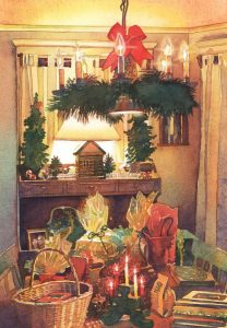 Golden Bundles of Good Cheer - watercolor still life painting by Frank Costantino