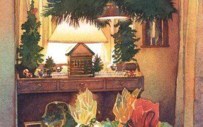 Golden Bundles of Good Cheer – watercolor still life painting
