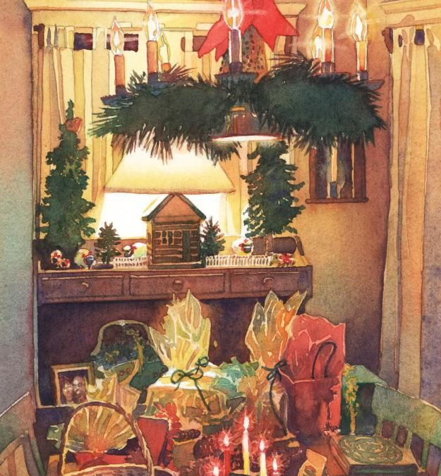 Golden Bundles of Good Cheer – watercolor still life painting