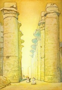 Great Temple at Karnak- after J. Guerin - watercolor landscape painting by Frank Costantino