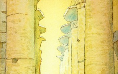 Great Temple at Karnak- after J. Guerin  – watercolor landscape painting