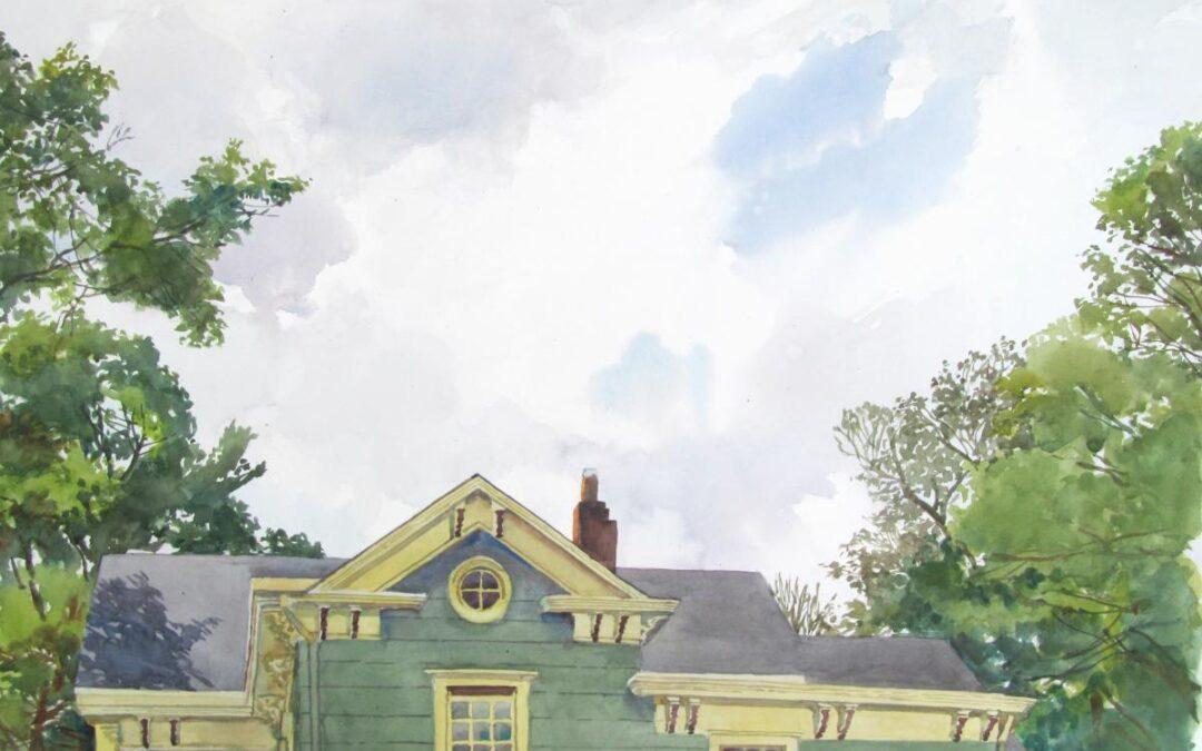 Hanson House SW Cornice – en plein air watercolor landscape painting