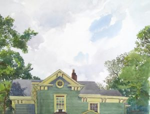 Hanson House SW Cornice - en plein air watercolor landscape painting by Frank Costantino