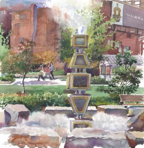 Harbor Fog Sculpture - RFK Greenway - en plein air watercolor landscape painting with sculpture by Frank Costantino