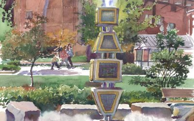 Harbor Fog Sculpture – RFK Greenway – en plein air watercolor landscape painting with sculpture