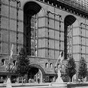 Harold Washington Library, Chicago – black and white pencil architectural illustration rendering