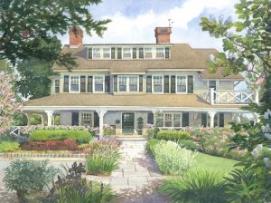 Harvey Residence, Marblehead – watercolor landscape painting of building in Marblehead Massachusetts