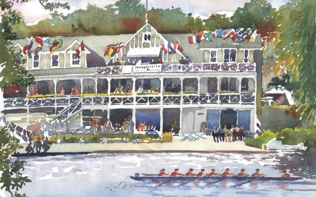 Head of the Charles Race Day – en plein air watercolor landscape painting