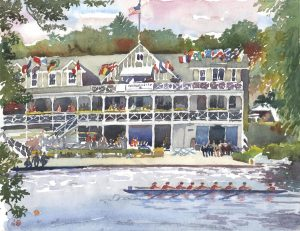 Head of the Charles Race Day - en plein air watercolor landscape painting by Frank Costantino